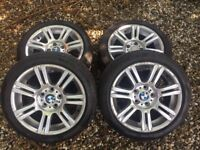 "GENUIENE BMW 194 17"" 5x120 ALLOY WHEEL SET STAGGERD WITH TYRES 225/45/17"