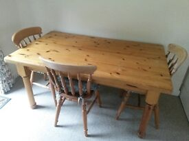 SOLID PINE FARMHOUSE TABLE & CHAIRS