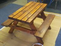New child chunky wooden bench table picnic kid handmade
