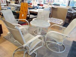 White Metal Patio Table and 4-Chairs Set - Used -