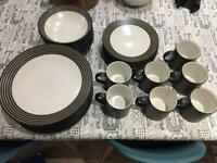 Denby black and ivory / white cup plate dinnerware set