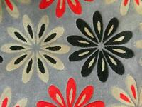 Brand new high-quality grey rug with black and white flowers design for sale.