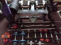 HOME GYM POWERBLOCK U90 STAGE 1, DUMBELLS, BARBELLS FREE WEIGHTS BENCH, + MORE