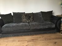 DFS LARGE MATERIAL SETTEE, CHAIR & FOOT STOOL EXCELLENT CONDITION