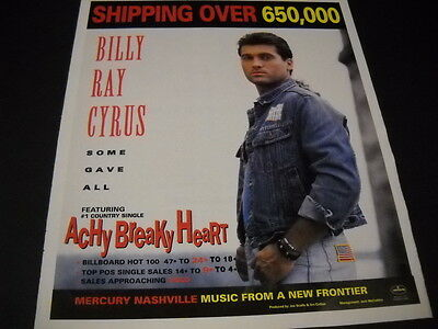 BILLY RAY CYRUS 1992 Promo Poster Ad from SOME GAVE ALL mint condition