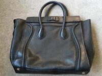 Celine Micro Luggage Handbag in black Drummed Calfskin