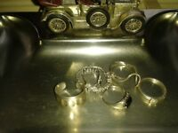 silver rings & lesney key tray collectible