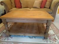 Solid pine coffee table with handy shelf below