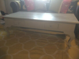 Large Painted Coffee Table with Two Drawers