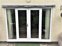 UPVC FRENCH DOORS & 2 FIXED PANELS - DOUBLE GLAZED