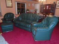 Three piece leather Natuzzi Dark Green Suite.