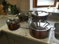 Copper pot set, and steamers. EXCELLENT condition