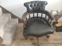 Chesterfield captains chair in green leather Gumtree