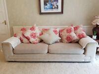 3 Piece Set Cream Colour Fabric Sofas