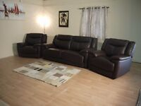 New Modena brown leather 3 seater sofa bed and 2 electric recliner chairs