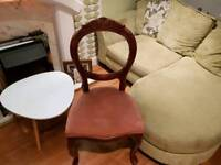 Vintage Retro Balloon Back Spoon Back French Style Bedroom Chair Queen Anne Style Legs