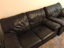 2 Seater Leather Sofa and Chair