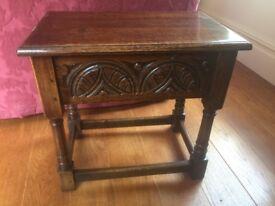 Solid oak vintage side table