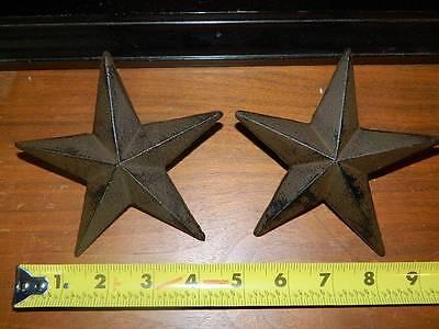 "Set/2 X-Large 5"" Cast Iron Western Star Nail Wall Barn  Cowboy Texas Decor"
