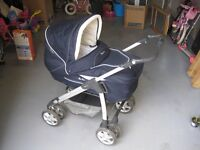 Silver Cross Navy Blue Sleepover Pram, car seat and all accessories
