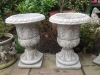 Pair stone garden planters, beautiful detail. New