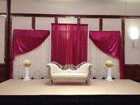 Asian Wedding Stages, Mandaps, Chair Covers, Wall Draping, Venue Dressing, Hilton Preferred Caterer
