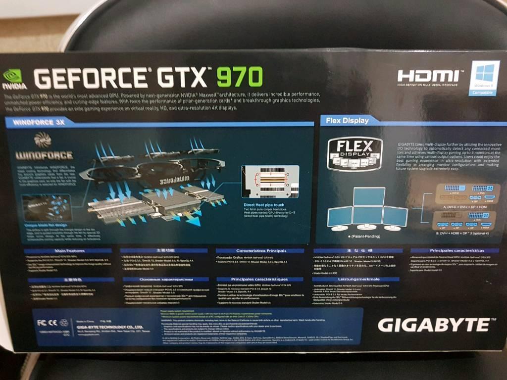 Gigabyte GeForce GTX 970 Windforce 3x OC, 4GB GDDR 2x DVI, HDMI, 3x DisplayPort