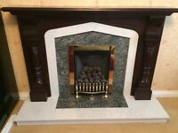 *MUST GO* Marble and green granite fireplace with mahogany surround. Excellent condition.