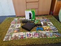 XBOX 360 CONSOLE IN ORIGINAL BOX , ADDITIONAL HARD DRIVE AND 2 CONTROLLERS 26 GAMES