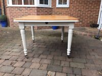Painted oak square dining table with great legs!!!