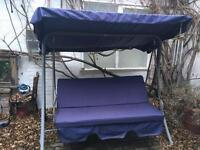 Waterproof navy blue 3 seats canope and cushions for swing chair