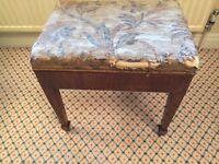Antique walnut piano stool, solid walnut