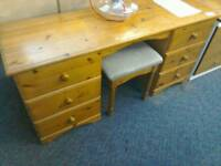 Double pedestal pine dressing table/desk and stool. #34524 £49