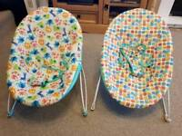 Two baby bouncers - hardly used, clean