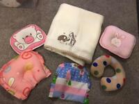 Baby blanket and pillows