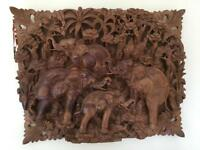 Indonesian detailed elephant wooden carving