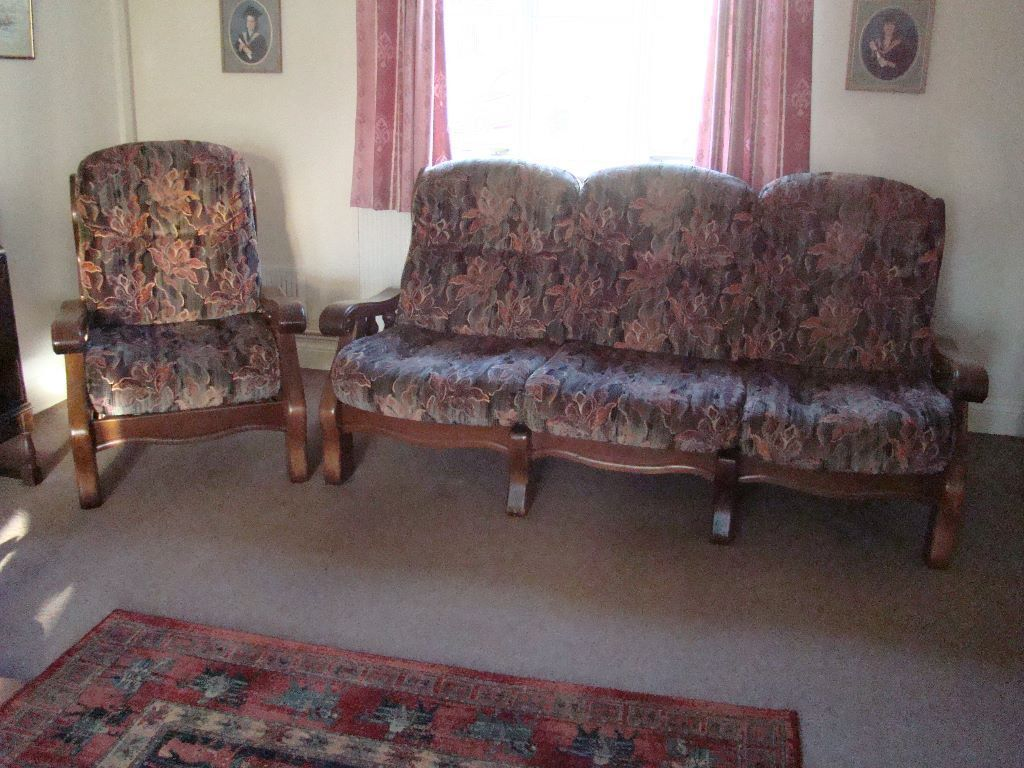 Three piece suite one sofa plus two armchairs in for Furniture 3 piece suites
