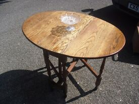 Great Solid Oak 1920's Narrow Dropleaf Spacesaver Table