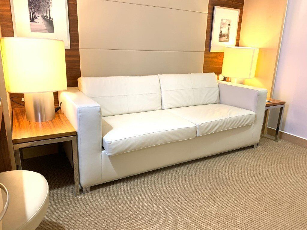 Luxury Soft Leather Sofa Bed Free Bedside Tables Lamps Coffee Table Stool
