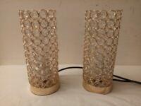 Pair of Modern Dimmer Table Lamp crystal Bedside Desk Light Home Shade Lighting Glass C040021