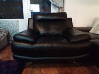 ****Large black leather armchair *****