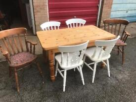 Pine table and 6 chairs can deliver
