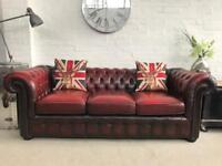 3 seater oxblood Chesterfield sofa. Can deliver