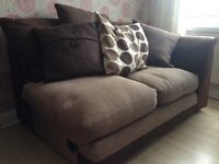 Corner Sofa with brown/beige fabric +seater +foot stool