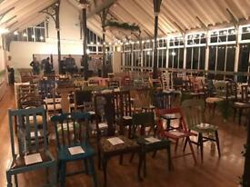 Mismatched chair and vintage table hire. Props furniture glass and crockery hire weddings or events