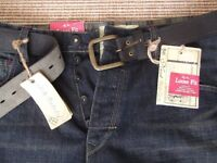 BRAND NEW NEXT DENIM LOOSE FIT BELTED JEANS - MENS SIZE 34S FOR SALE