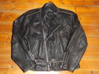 "Vintage 'Cafe Racer' Style Black Leather Motorcycle Jacket -XXL 46""(116 cm)-Thick-Supple."