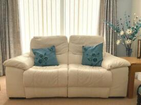 White leather electric recliner two seater sofa (DFS)