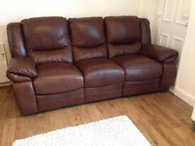 Real leather 3 + 2 reclining sofas
