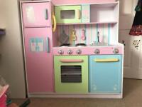 Girl's wooden play kitchen & utensils/pans